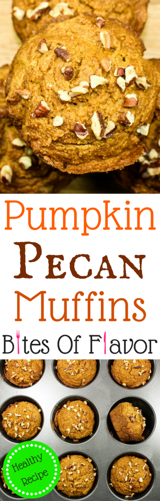 Pumpkin Pecan Muffins are packed with festive fall flavors. Delicious, light, crunchy on top, and easy to make. Great for grab and go breakfast. Low fat and Weight Watchers friendly recipe! www.bitesofflavor.com