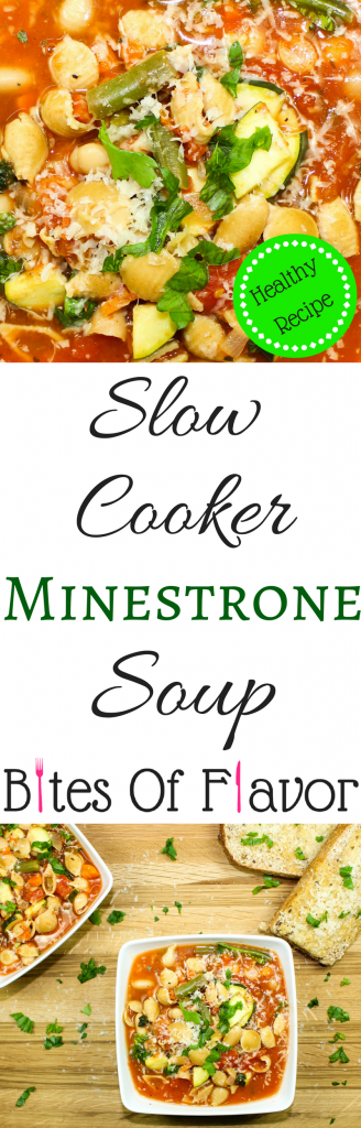 Slow Cooker Minestrone Soup-Warmth & comfort perfect for a cold day. Hearty vegetables, beans, & pasta mixed together will warm you soul. Delicious & low fat. Weight Watcher friendly recipe.