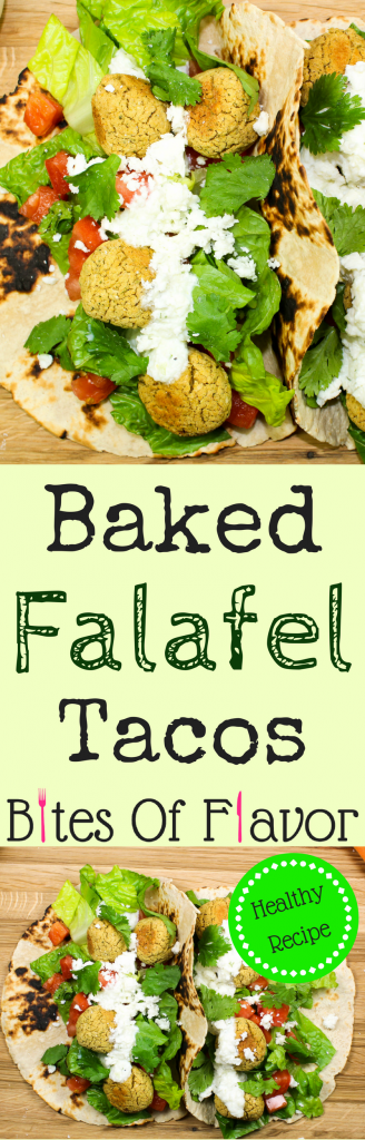 Baked Falafel Tacos-Unique twist to healthy tacos at home. Crispy baked falafel topped with creamy tzatziki sauce and wrapped in a corn tortilla make for the perfect dinner! Great idea for Meatless Monday and Taco Tuesday! Weight Watchers friendly recipe. www.bitesofflavor.com