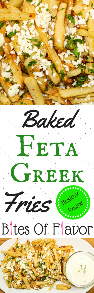 Baked Feta Greek Fries-Perfect lighter version of cheese fries. Crispy baked fries topped with tangy feta cheese. Delicious, easy to make, and the perfect side dish for any meal! Weight Watcher friendly recipe. www.bitesofflavor.com.