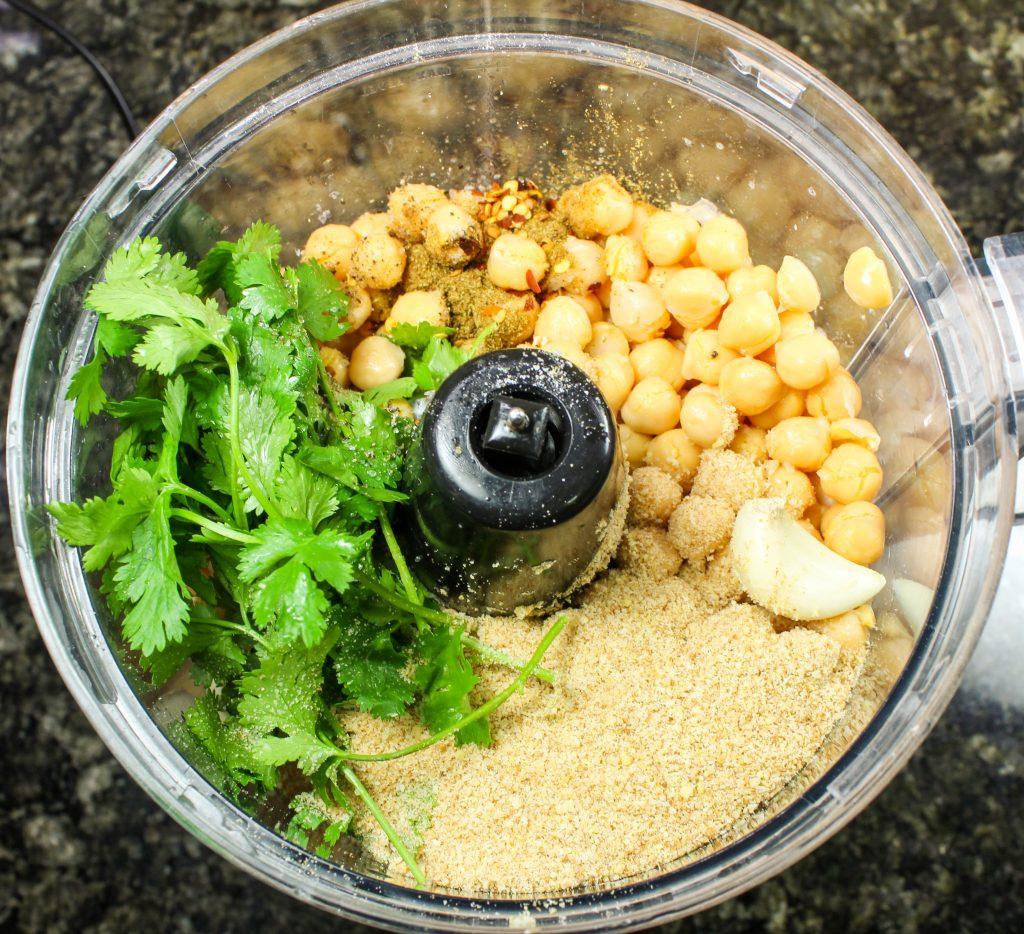 Falafel mixture in food processor