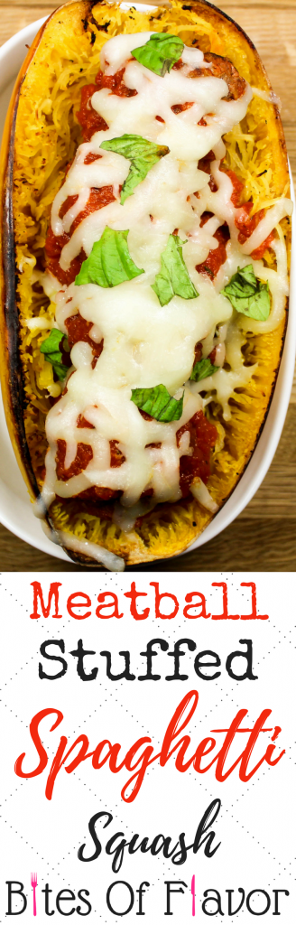 Meatball Stuffed Spaghetti Squash is spaghetti and meatballs without the guilt. Juicy meatballs, stuffed in spaghetti squash, topped with fresh marinara sauce and cheese. Comfort food lightened up! Weight Watchers friendly recipe. www.bitesofflavor.com