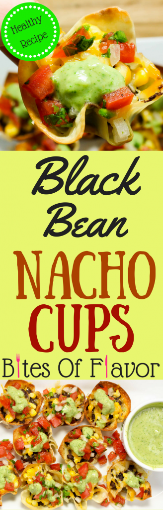 Black Bean Nacho Cups are the perfect appetizer packed with delicious nacho flavors. Wonton wrappers nacho cups stuffed with black beans, corn, cheese, topped with fresh pico de gallo and avocado crema. Easy to make and healthy! Weight Watchers friendly recipe. www.bitesofflavor.com.