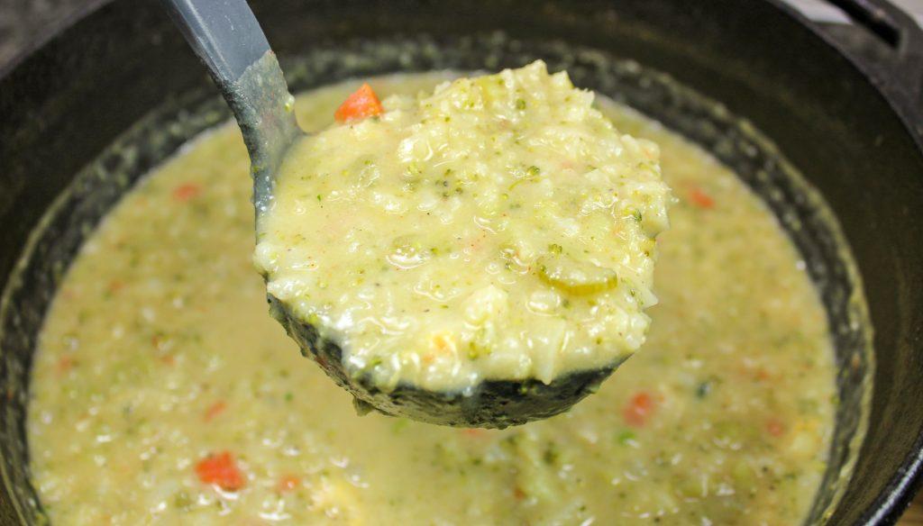 ladle full of homemade broccoli cauliflower chowder