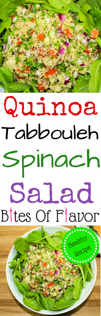 Quinoa Tabbouleh Spinach Salad is a light yet filling salad great for lunch or dinner. Fresh vegetables, quinoa & baby spinach, topped with a vinaigrette is sure to please any non-salad lover! Great for make ahead meal. Weight Watchers friendly recipe. www.bitesofflavor.com