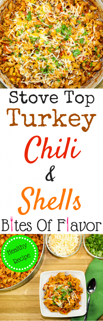 Stove Top Turkey Chili & Shells-Perfect blend of chili & pasta. Spicy ground turkey, roasted vegetables, pasta shells, topped with cheese. Made on the stovetop in less than an hour for a great weeknight meal! Weight Watcher friendly recipe. www.bitesofflavor.com