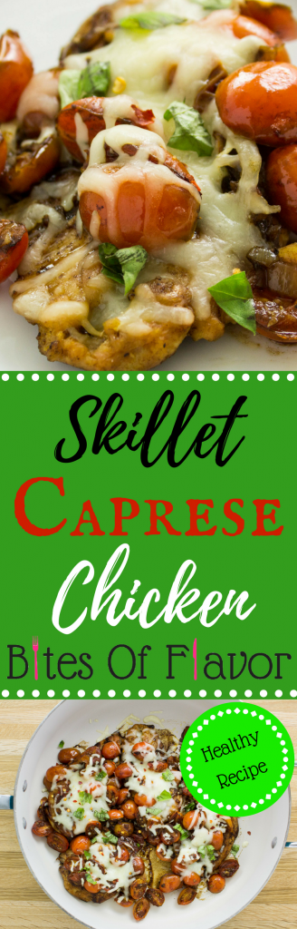 Skillet Caprese Chicken- Lean chicken breast topped with delicious tomatoes, balsamic vinegar, & cheese all made in under 30 minutes! Weight Watchers friendly recipe. www.bitesofflavor.com
