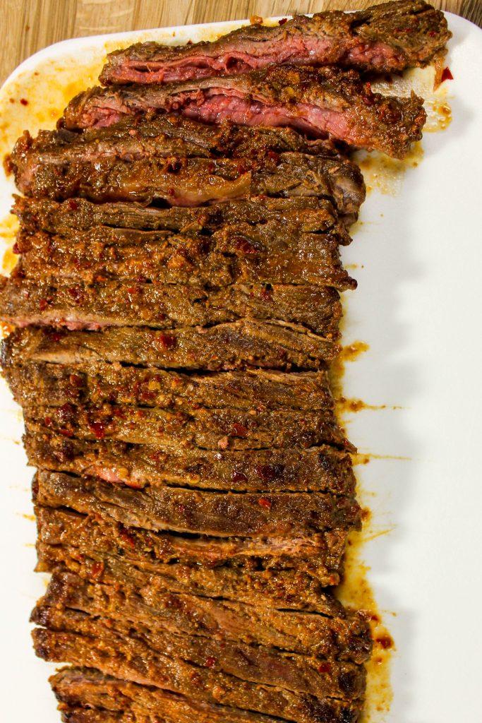 steak cut into strips