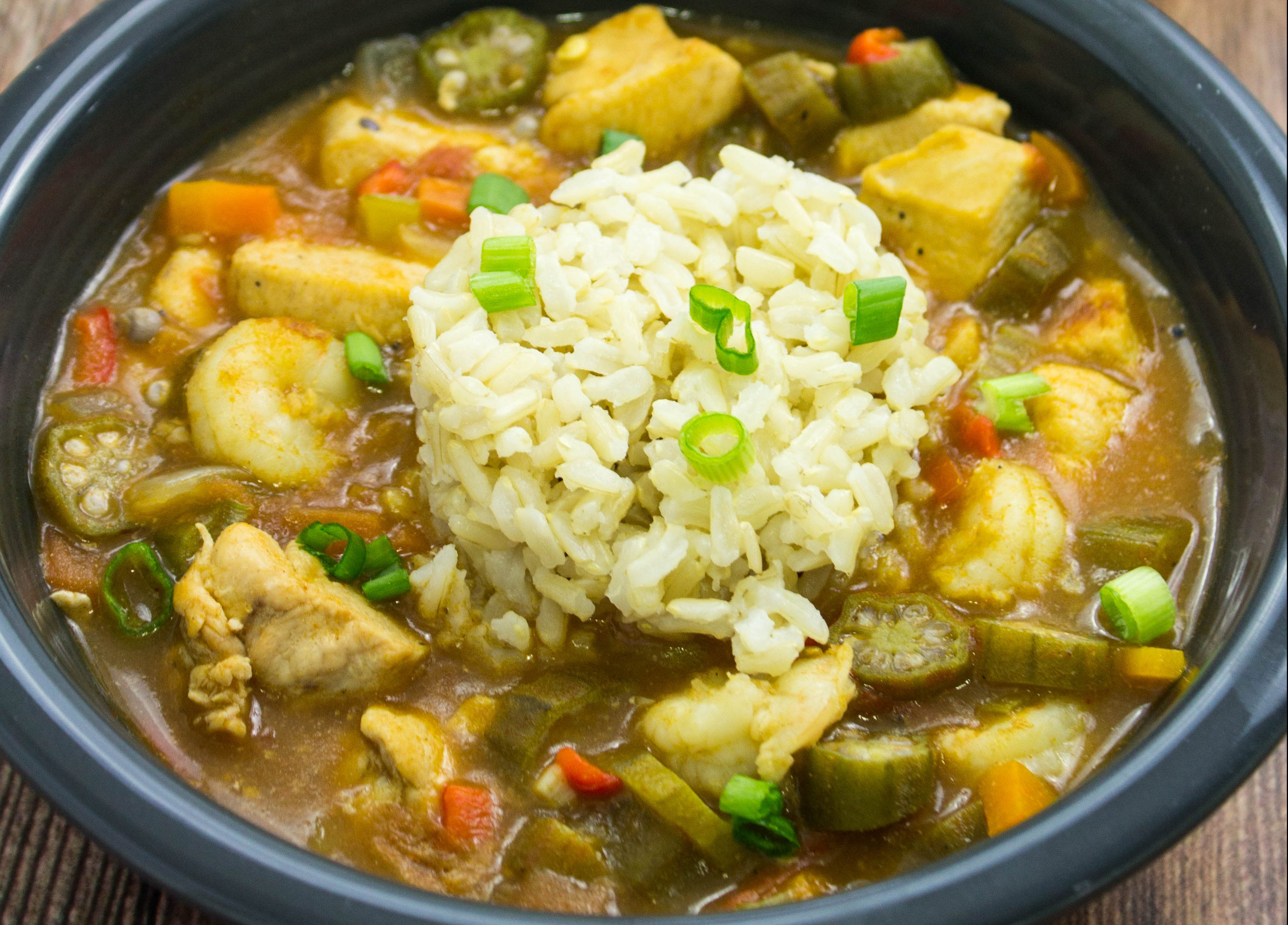 Chicken & Shrimp Gumbo- Diced chicken, vegetables, okra, & shrimp cooked in a decadent broth is delicious with every bite. Weight Watchers friendly. www.bitesofflavor.com
