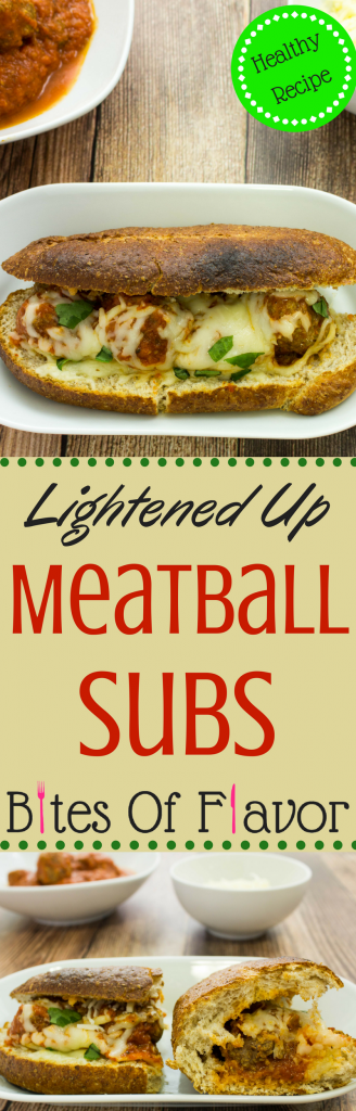Lightened Up Meatballs Subs- Lean homemade beef meatballs cooked in a delicious marinara sauce & topped with cheese are perfect between a sub sandwich! Weight Watchers friendly recipe. www.bitesofflavor.com