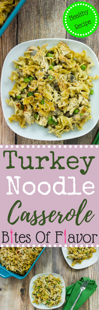 Turkey Noodle Casserole-Delicious shredded turkey mixed with homemade cream of mushroom, peas, cheese, and egg noodles. Weight Watchers friendly recipe. www.bitesofflavor.com