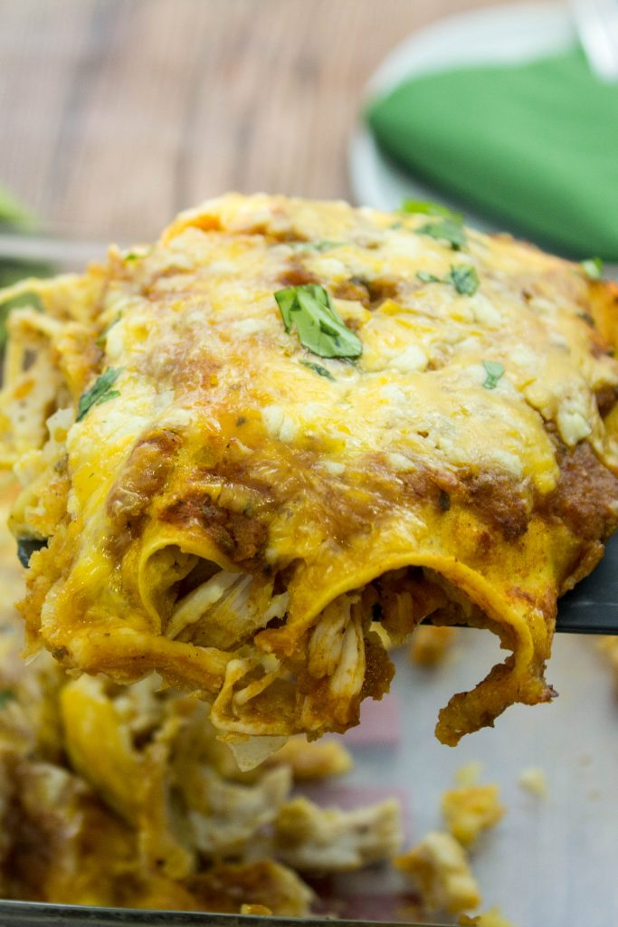 Roasted Turkey Enchiladas is a great way to use leftover turkey! Weight Watchers friendly recipe. wwbitesofflavor.com