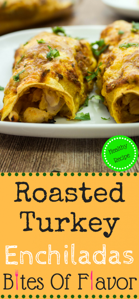 Roasted Turkey Enchiladas- Oven roasted shredded turkey, stuffed into a tortilla, topped with homemade enchilada sauce & more cheese! Weight Watchers friendly recipe. www.bitesofflavor.com