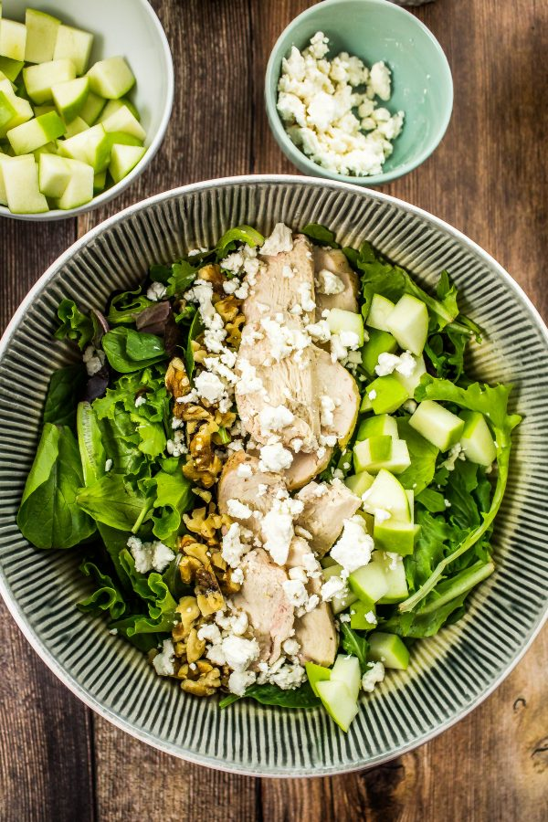 baby lettuce mixed with green apples, oven roasted chicken breast, walnuts, & feta cheese topped with tangy green goddess dressing.