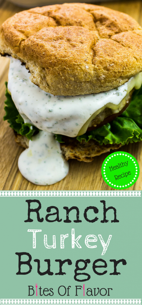 Ranch Turkey Burger-Pre-made lean turkey burgers topped ranch sauce are perfect for a quick & easy to make dinner. Delicious and healthy! Weight Watchers friendly recipe. www.bitesofflavor.com