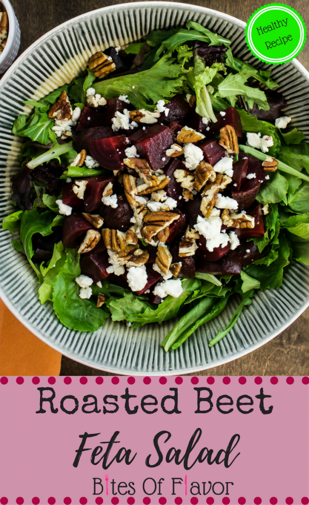 Roasted Beet & Feta Salad-Perfectly roasted beets on top of a bed of baby lettuce with chopped pecans and feta cheese sprinkled on top. Weight Watchers friendly recipe. www.bitesofflavor.com