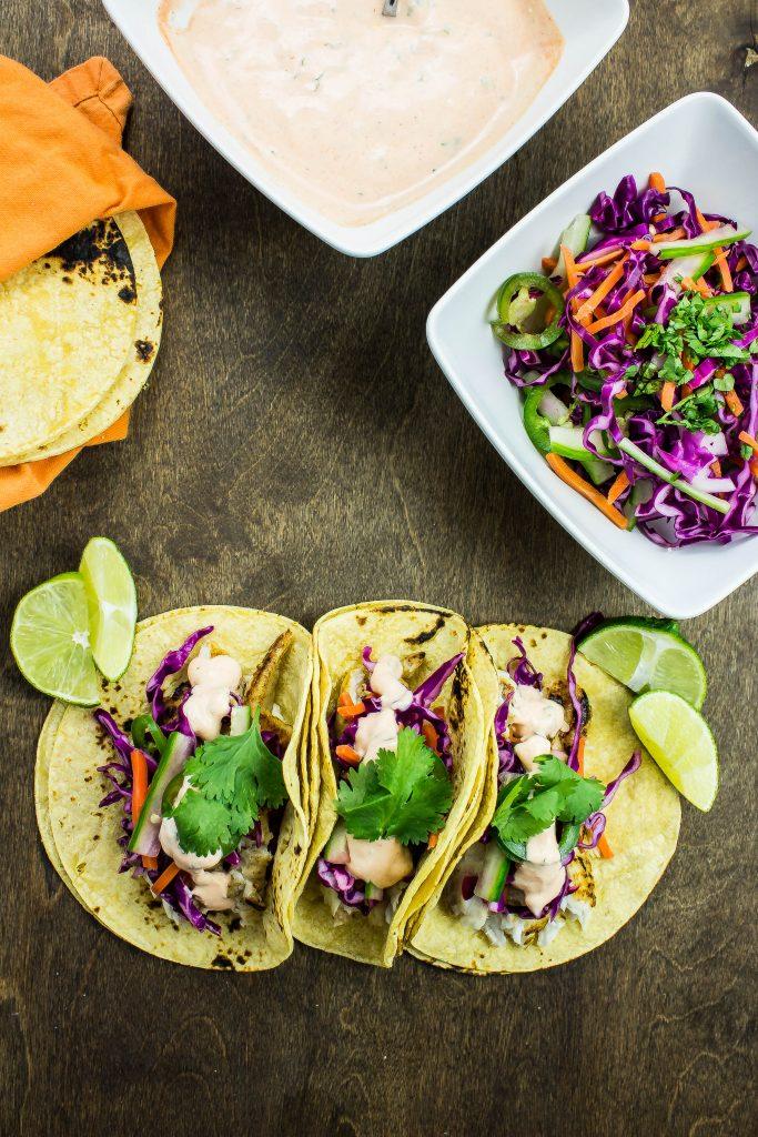 Fish tacos flavored like a bahni mi sandwich