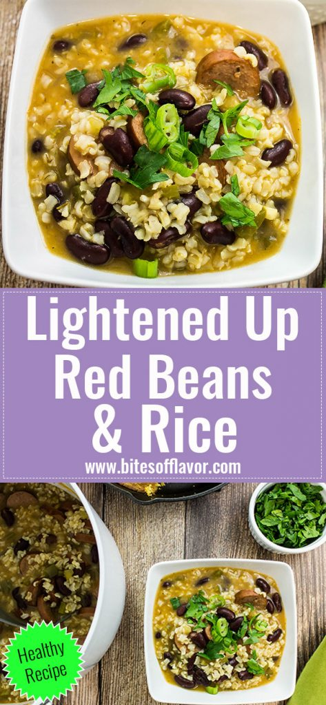 Lightened Up Red Beans & Rice is Cajun comfort food in a bowl! Kidney beans, brown rice, veggies, & turkey sausage cooked low and slow in a delicious broth. Weight Watchers friendly recipe! www.bitesofflavor.com