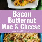 Healthy macaroni & cheese with butternut squash topped with bacon