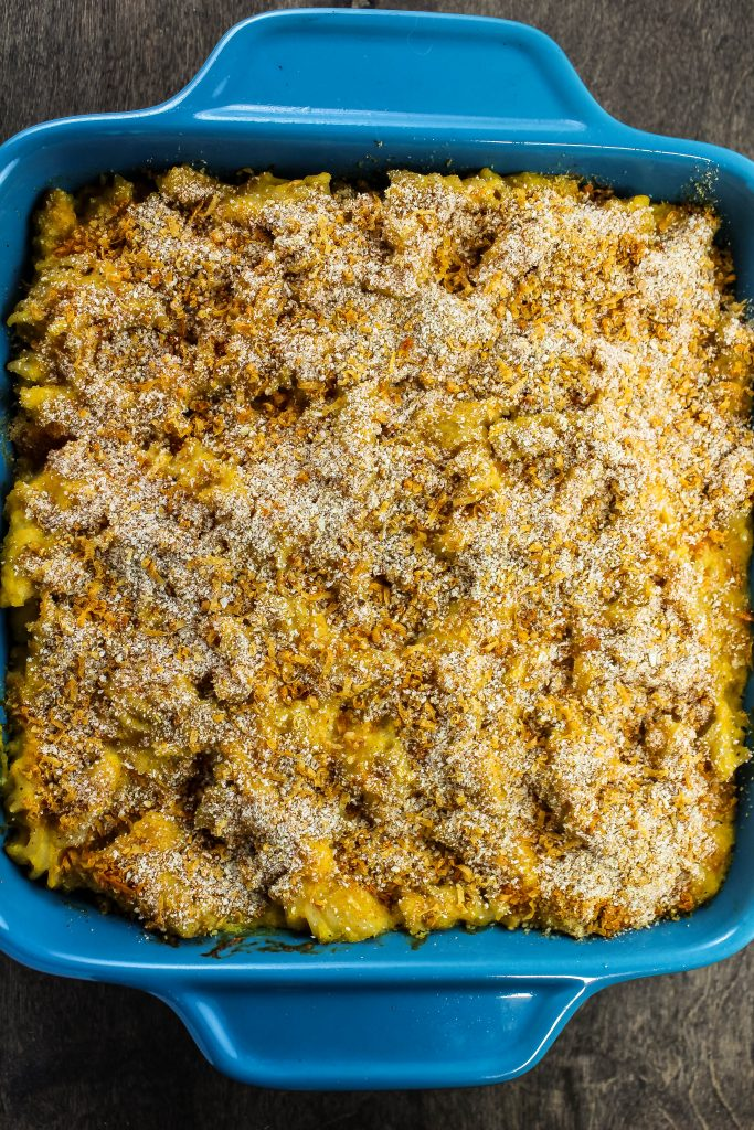 Butternut squash macaroni and cheese in a casserole dish