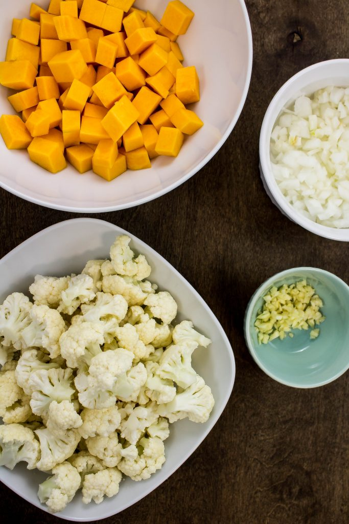 Diced vegetables for Squash & Vegetable Curry