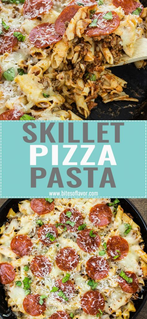 Skillet Pizza Pasta is a delicious and hearty pasta dish inspired by pepperoni pizza. Seasoned ground beef with pasta, marinara sauce, topped with mozzarella cheese and pepperoni. Weight Watchers friendly recipe! www.bitesofflavor.com