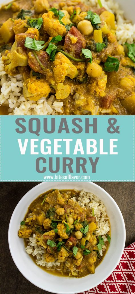 Squash & Vegetable Curry is a hearty dish packed with Indian spices & vegetables. Great vegetarian dinner recipe! Weight Watchers friendly. www.bitesofflavor.com