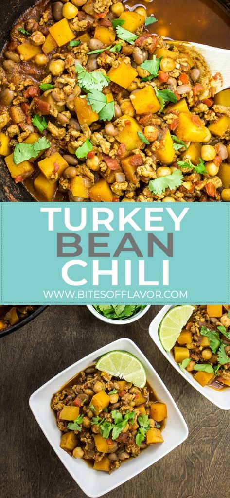 Turkey Bean Chili is a delicious & hearty bowl packed with flavor. Ground turkey, veggies, & two kinds of beans cooked in a spicy tomato broth. Weight Watchers friendly recipe! www.bitesofflavor.com
