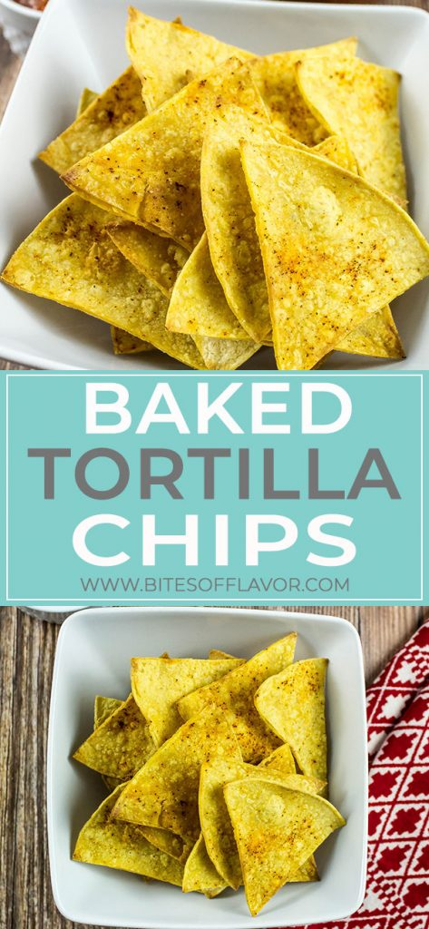 Baked Tortilla Chips are easy to make and only a few ingredients! Low fat and packed with delicious flavors. A healthy alternative to store bought chips! Weight Watchers friendly recipe. www.bitesofflavor.com