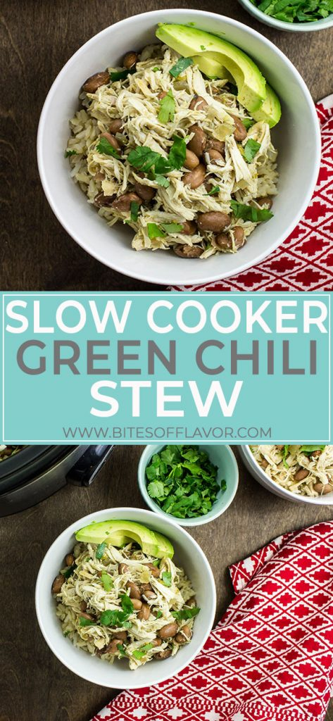 Slow Cooker Green Chili Stew is a delicious bowl of Southwestern flavors! Slow cooked chicken and pinto beans in a savory broth of green chili spices and green chilies served over rice. So easy to make and great all year round! Weight Watchers friendly recipe! www.bitesofflavor.com