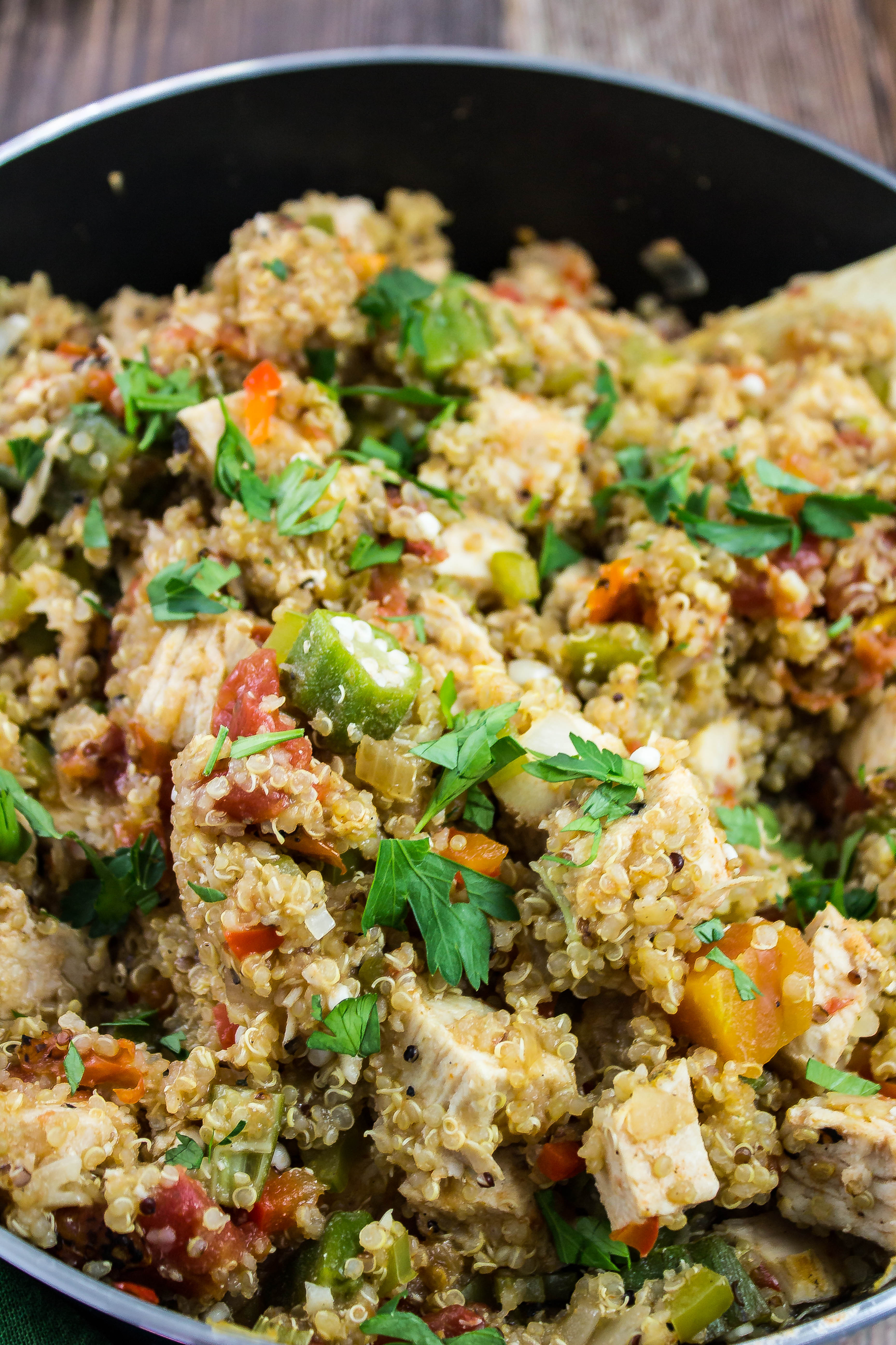 Cajun Turkey Quinoa Skillet is a blend of scrumptious Cajun flavors. Oven roasted turkey breast, quinoa, and vegetables cooked together make for a delicious dinner! Bold flavors that will keep you coming back for seconds! Weight Watchers friendly recipe!