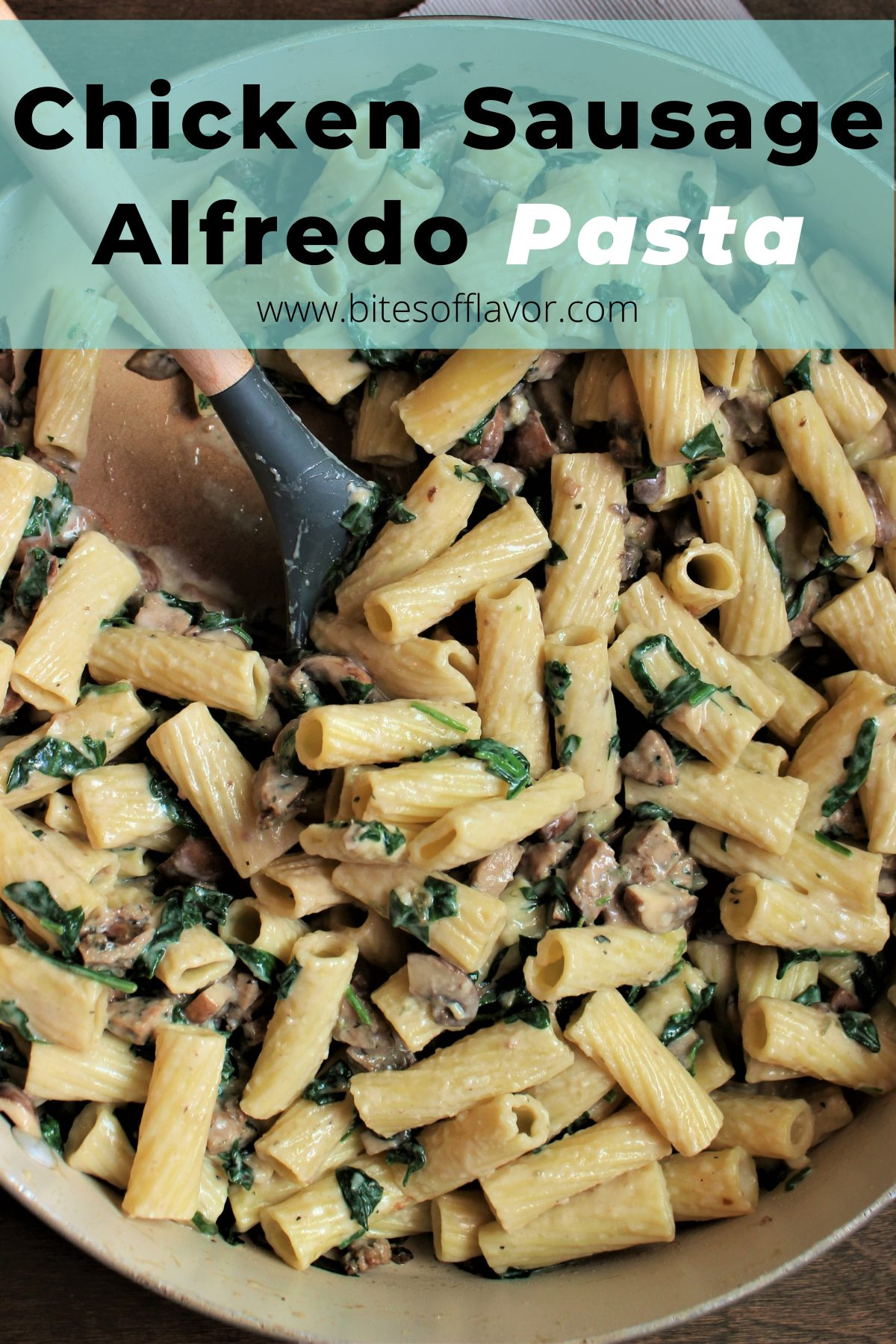 Chicken Sausage Alfredo Pasta is delicious chicken sausage with baby spinach & mushrooms in a decadent & light Alfredo sauce. Ready in under 1 hour and a kid friendly recipe!